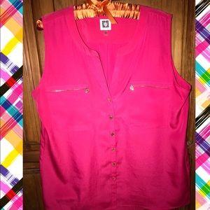 Anne Klein coral blouse Size L